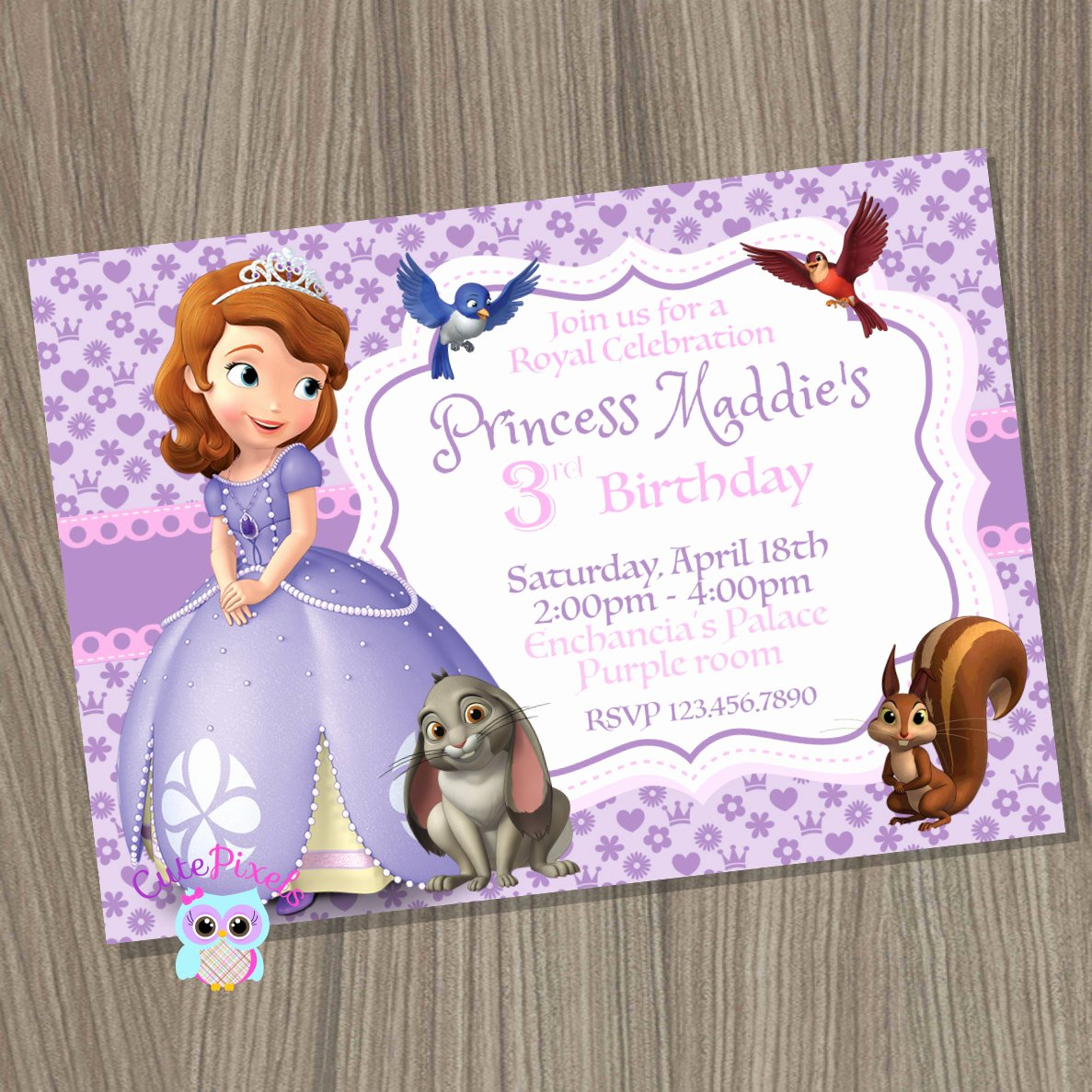 Sofia the First Invitation Templates Unique sofia the First Invitation Princess sofia Invitation