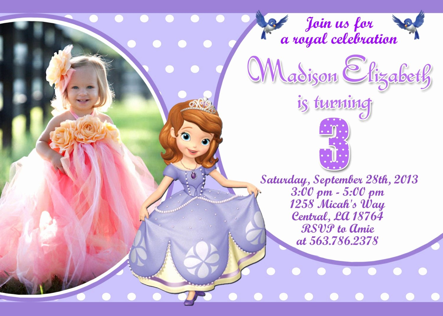 Sofia the First Invitation Templates Unique Unavailable Listing On Etsy