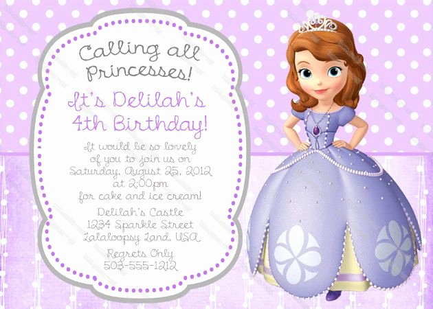 Sofia the First Template Awesome Junior Princess Birthday Party Invitation Printable 5x7 or 4x6 Custom Party Invitation $5