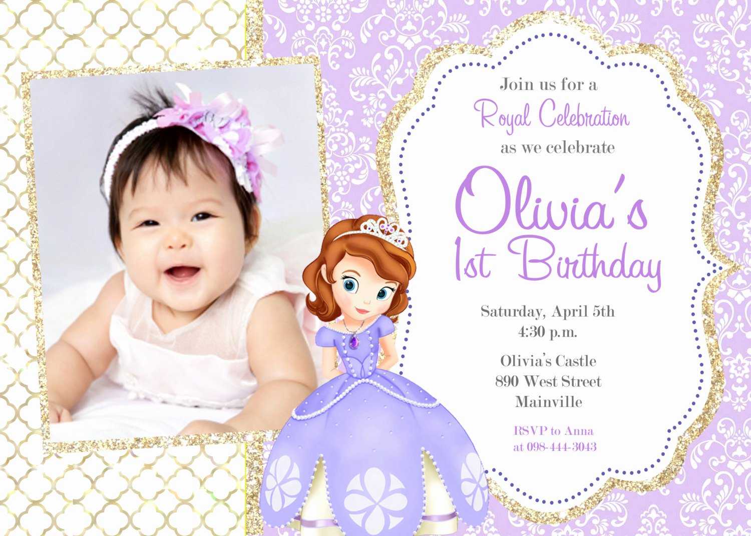 Sofia the First Template Best Of sofia the First Birthday Party Invitation Digital File