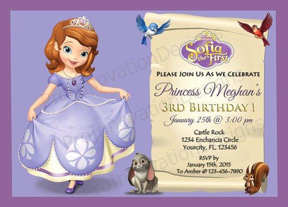 Sofia the First Template Luxury Disney sofia the First Invitation sofia the First Party