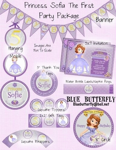 Sofia the First Template New Princess sofia the First Party Package and Invite Printable Customized