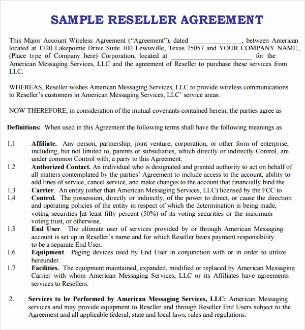 Software Reseller Agreement Template Awesome Free 9 Sample Free Reseller Agreement Templates In Google Docs Ms Word Pages