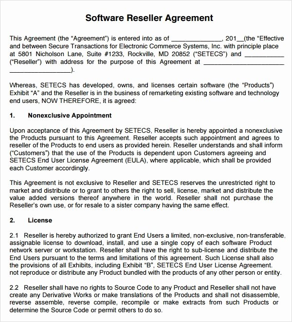Software Reseller Agreement Template Best Of Free 9 Sample Free Reseller Agreement Templates In Google Docs Ms Word Pages