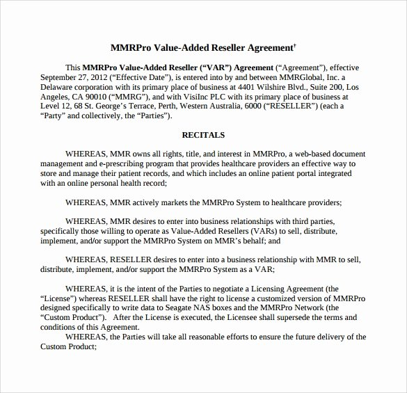 Software Reseller Agreement Template New Free 9 Sample Free Reseller Agreement Templates In Google Docs Ms Word Pages