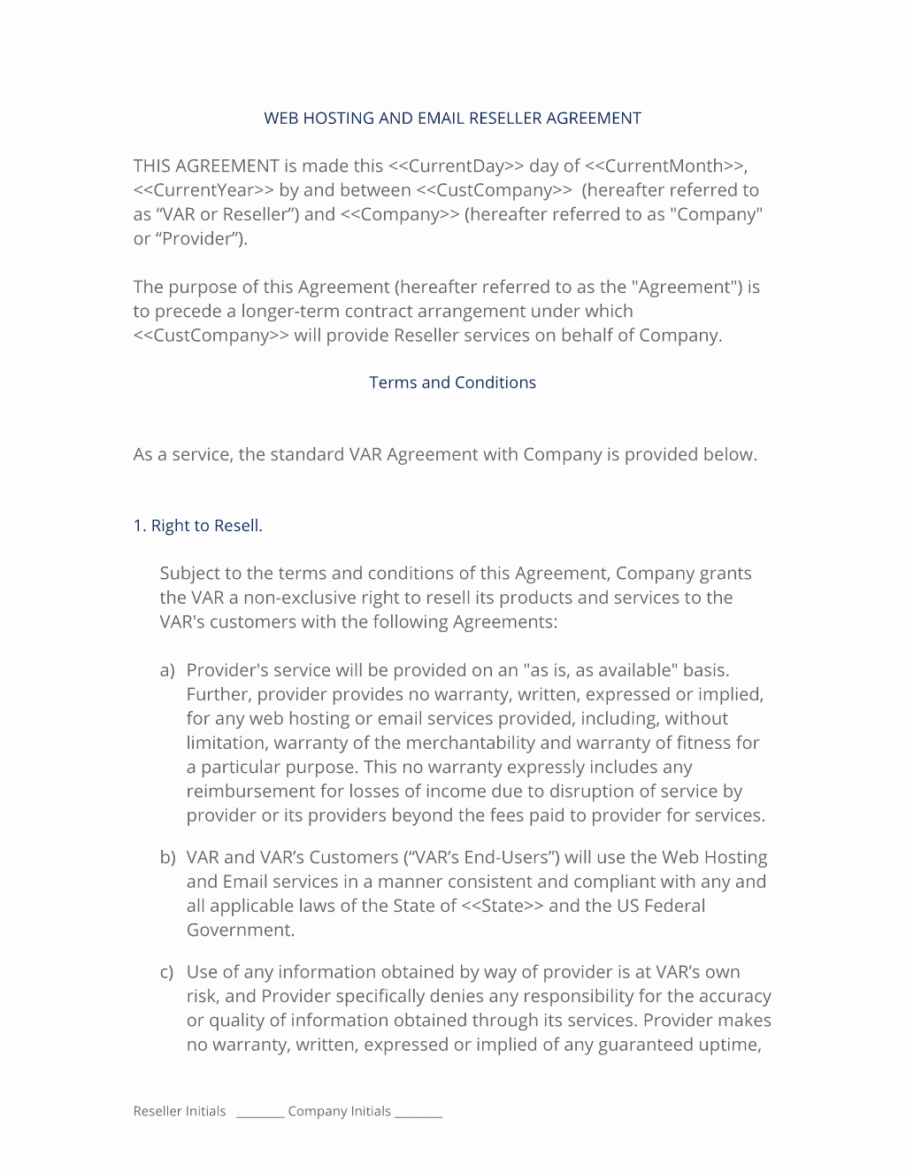 Software Reseller Agreement Template Unique Web Site Hosting Reseller Short form Contract 3 Easy Steps