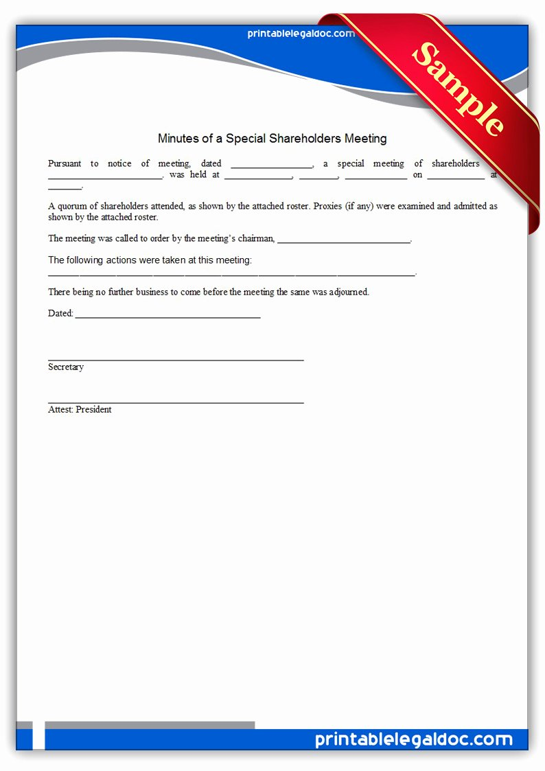 Sole Shareholder Meeting Minutes Sample Best Of Free Printable Minutes A Special Holders Meeting