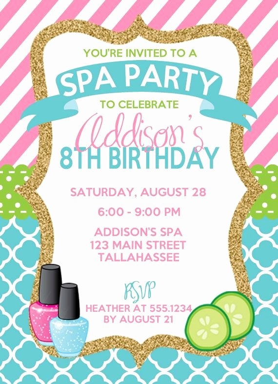 Spa Birthday Party Invitations Beautiful Spa Birthday Invitation Spa Party Invitation Sleepover Birthday Invitation Spa Sleepover