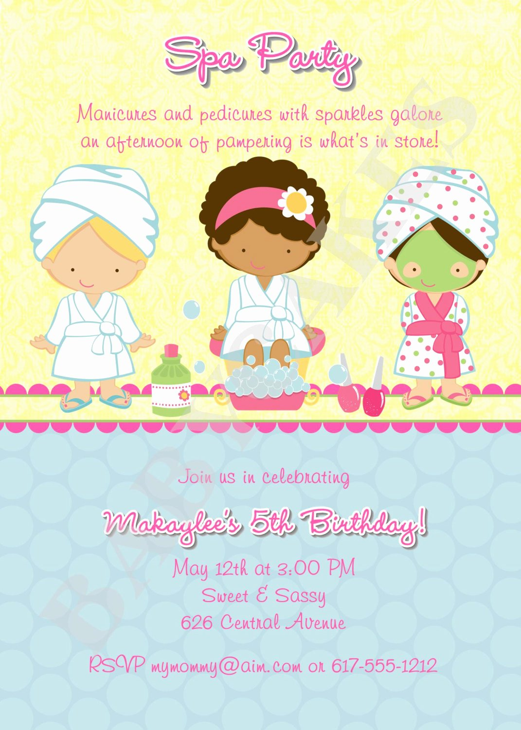Spa Birthday Party Invitations Best Of Spa Party Birthday Invitation Diy Print Your Own