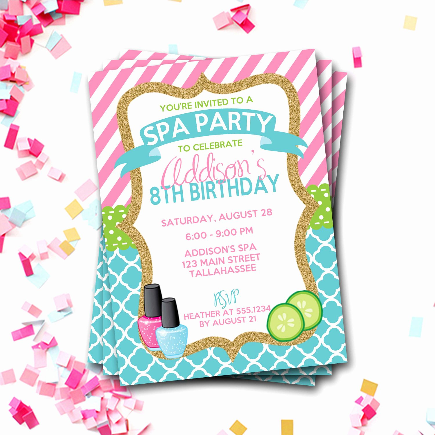 Spa Birthday Party Invitations Elegant Spa Birthday Invitation Spa Party Invitation Sleepover