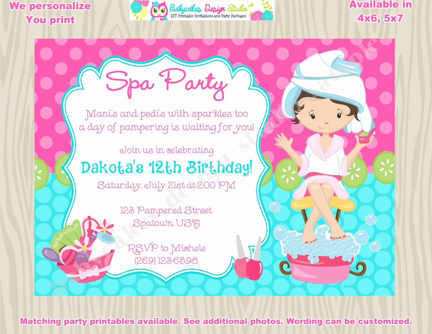 Spa Birthday Party Invitations Elegant Spa Party Invitation Spa Birthday Invitation Invite Spa Day