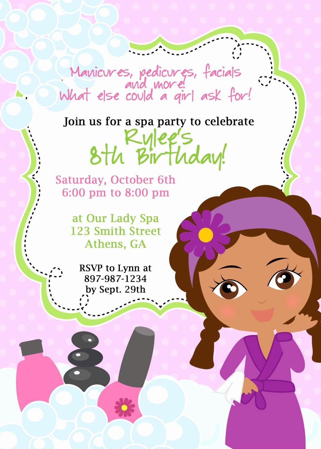 Spa Birthday Party Invitations Fresh Diy Sassy Spa Party Invitation African American Little Girl