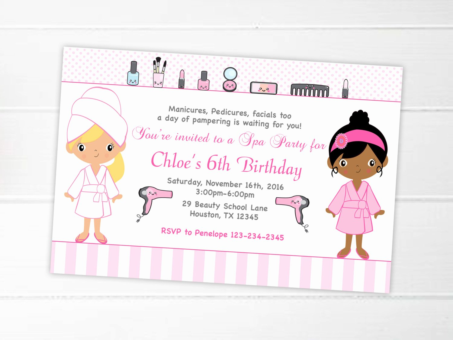 Spa Birthday Party Invitations Fresh Spa Party Invitation Printable Spa Birthday Party Spa