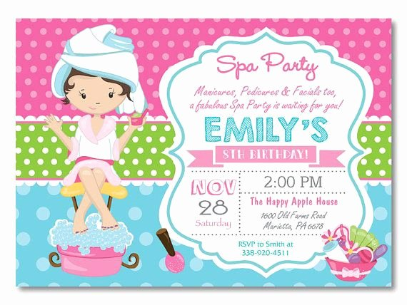 Spa Birthday Party Invitations Fresh Spa Party Invitation Spa Birthday Party Invitation Pajama Party Pampering Spa Party Girl