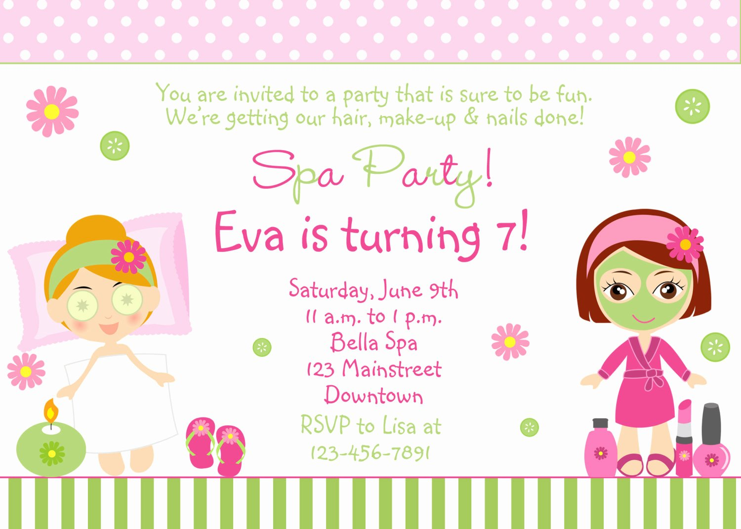 Spa Birthday Party Invitations Inspirational Spa Birthday Party Invitation Printable by thebutterflypress