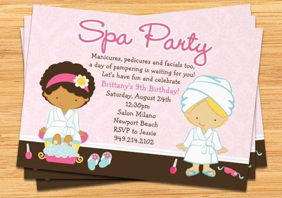 Spa Birthday Party Invitations Inspirational Spa Party Kids Birthday Invitation