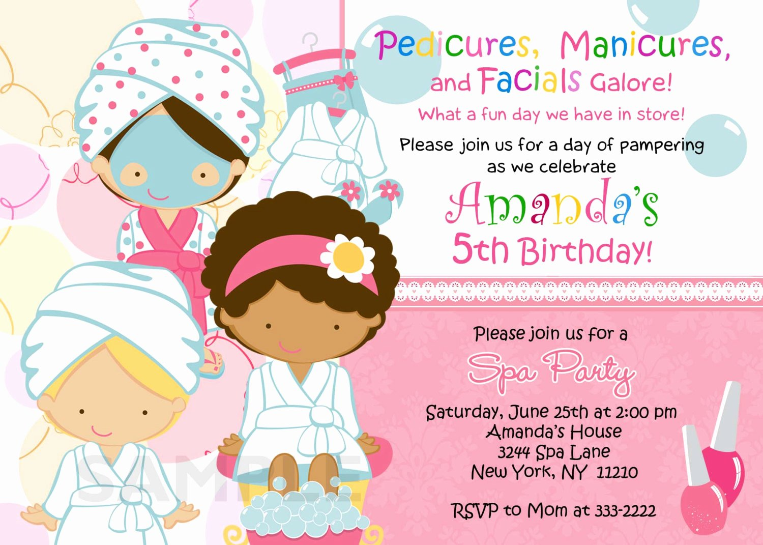 Spa Birthday Party Invitations Luxury Birthday Invitation Personalized Spa Mani Pedi Birthday