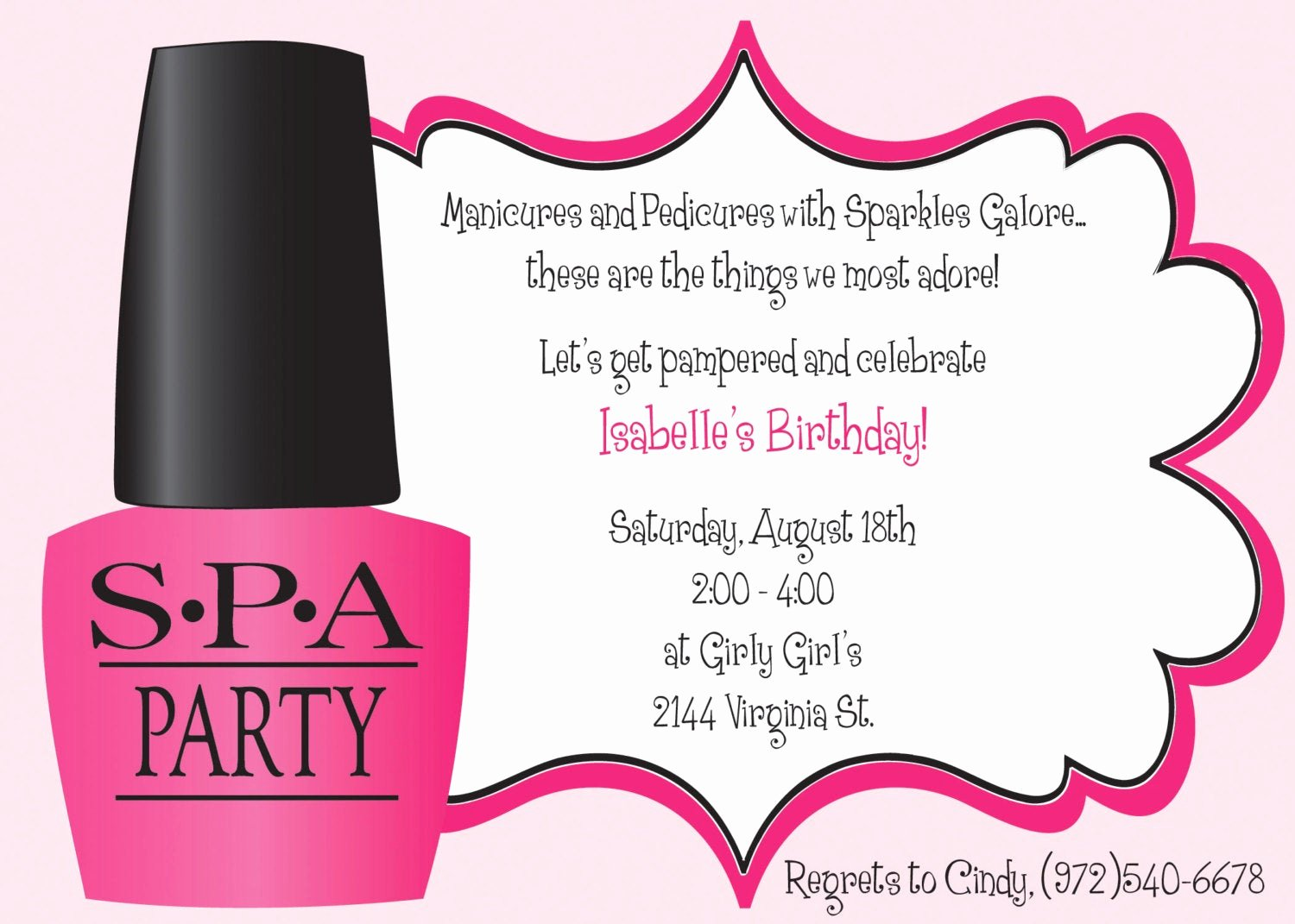 Spa Birthday Party Invitations Luxury Ooh La La Spa Party Girls Birthday Invitation Includes