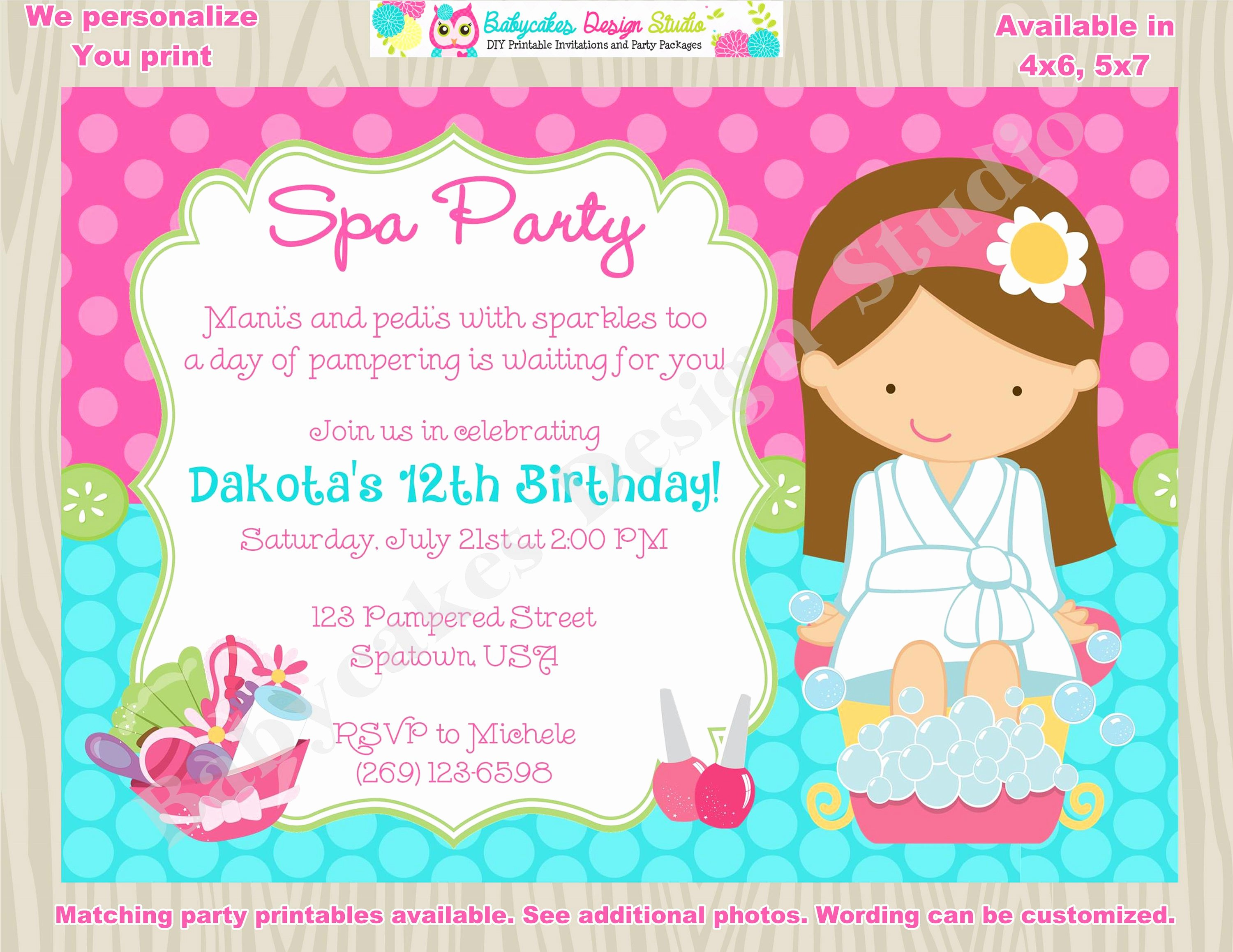 Spa Birthday Party Invitations Luxury Spa Party Invitation Spa Birthday Invitation Invite Spa Day
