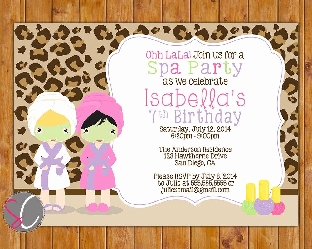 Spa Birthday Party Invitations Unique Spa Party Birthday Invite Girls Leopard Print Manicure