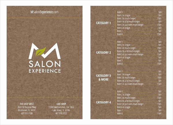 Spa Menu Template Free Fresh 9 Salon Menu Templates Psd Vector Eps Ai Illustrator Download
