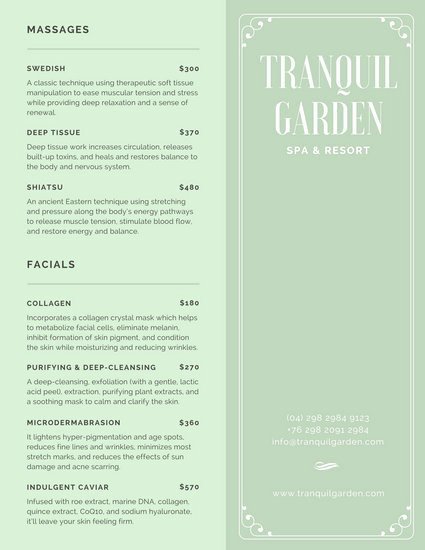 Spa Menu Template Free New Mint Green Spa Services Menu Templates by Canva