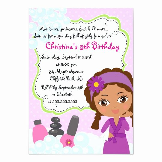 Spa Party Invitations Templates Free Awesome Cute Manicure Spa Birthday Party Invitation