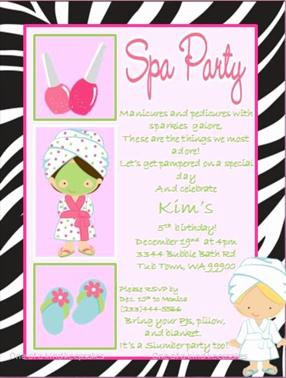 Spa Party Invitations Templates Free Best Of Items Similar to Spa Party Zebra Invitations Printable Diy On Etsy