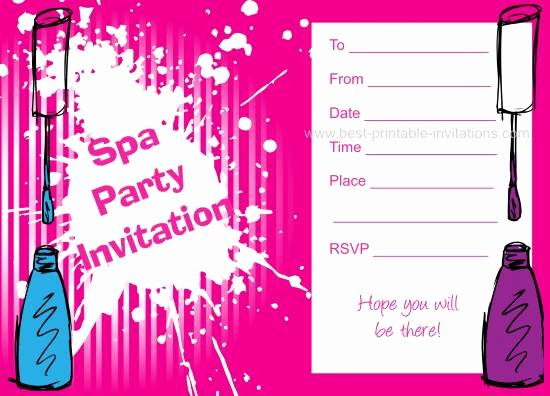 Spa Party Invitations Templates Free Best Of Spa Birthday Party Invitations
