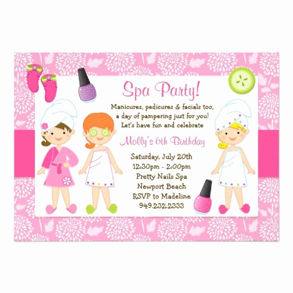 Spa Party Invitations Templates Free Luxury Sleepover Spa Party Invitations Templates Free