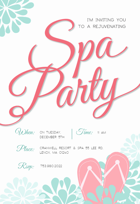 Spa Party Invitations Templates Free Luxury Spa Splendors Party Invitation Template Free
