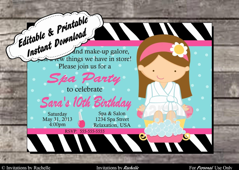 Spa Party Invitations Templates Free New Spa Party Invitation Birthday Party Editable Printable