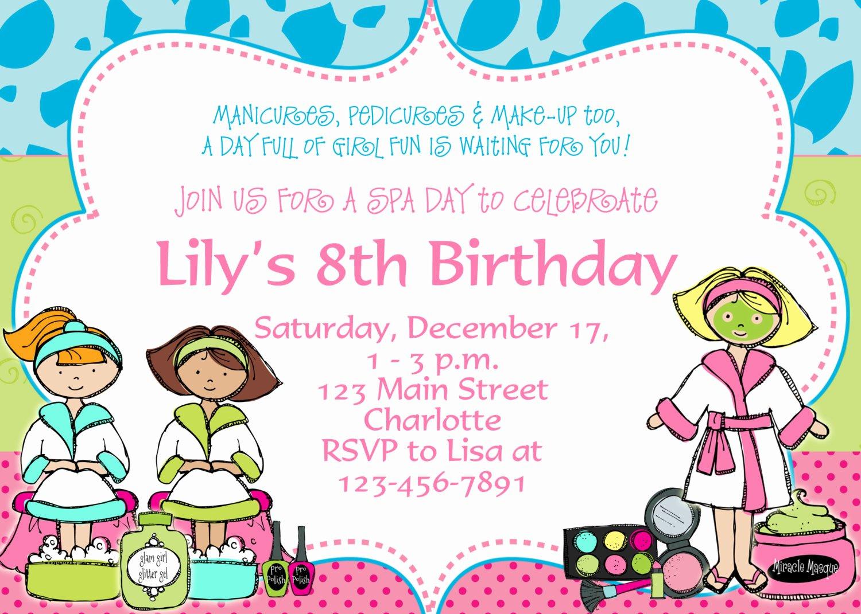 Spa Party Invitations Templates Free Unique Free Birthday Party Invitation Templates
