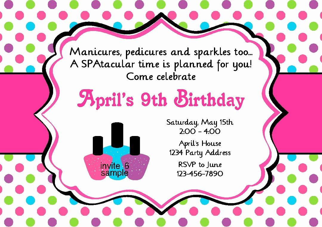 Spa Party Invite Template Unique Spa Party Invitation Manicure Pedicure Birthday Party