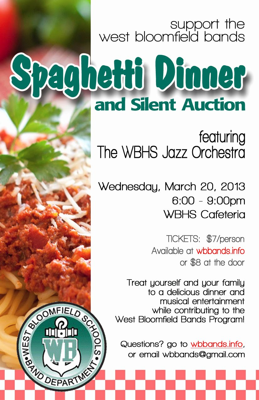 Spaghetti Dinner Fundraiser Flyer Template Awesome Spaghetti Dinner and Silent Auction Purchase Your Tickets today – West Bloomfield Bands