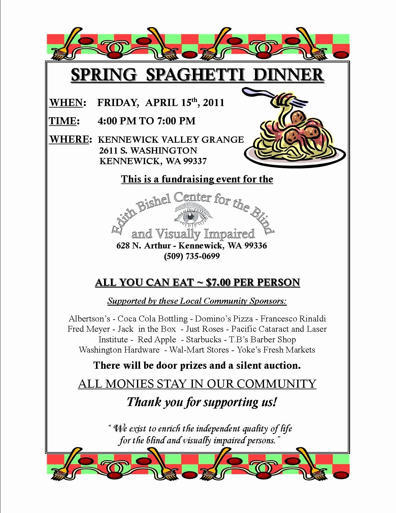 Spaghetti Dinner Fundraiser Flyer Template Fresh Dinner Fundraiser April 15 2011 Spring Spaghetti Dinner Fundraiser