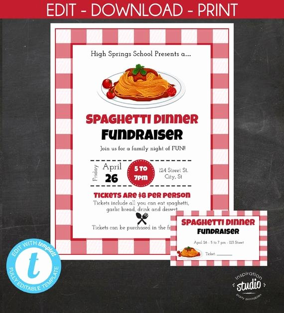 Spaghetti Dinner Fundraiser Flyer Template Fresh Spaghetti Dinner Fundraiser Flyer and Tickets Pasta Dinner Italian Night Pta Pto School