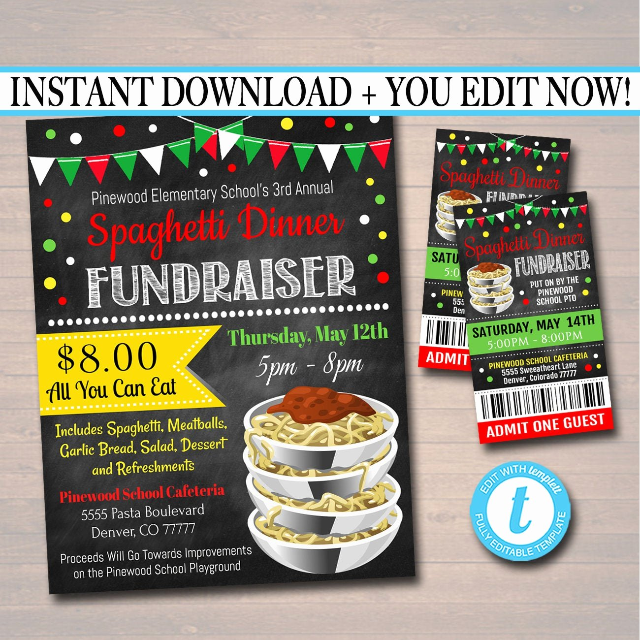 Spaghetti Dinner Fundraiser Flyer Template Lovely Editable Spaghetti Dinner Fundraiser Flyer Ticket Set Pto