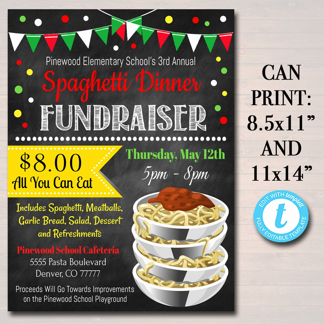 Spaghetti Dinner Fundraiser Flyer Template Luxury Editable Spaghetti Dinner Fundraiser Flyer Pto Pta Church