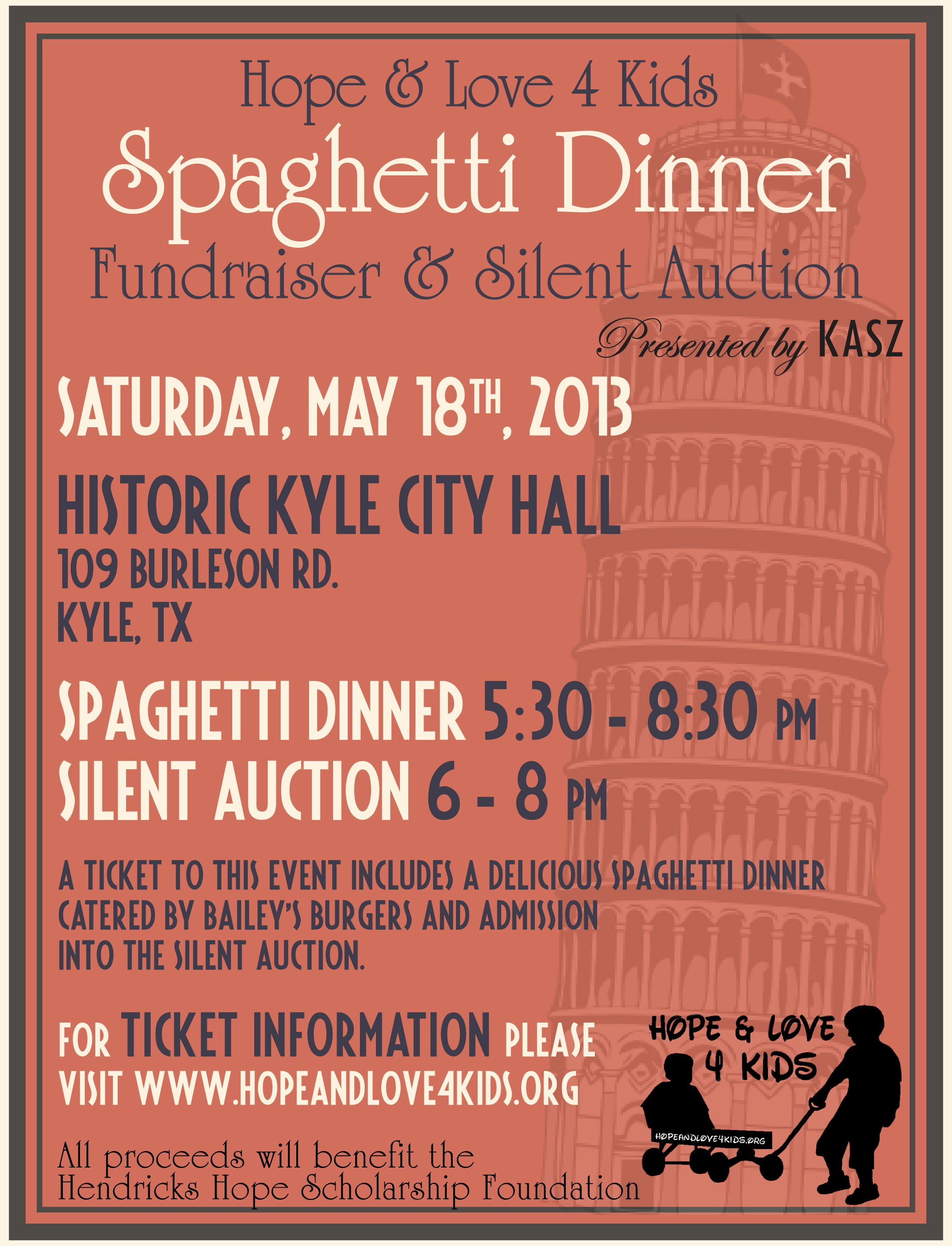 Spaghetti Dinner Fundraiser Flyer Template Unique Hope & Love 4 Kids