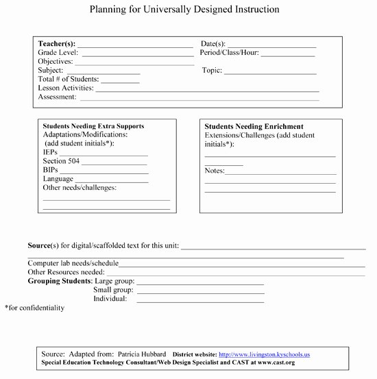 Special Education Lesson Plan Template Luxury 26 Of Specialized Instruction Lesson Plan Template