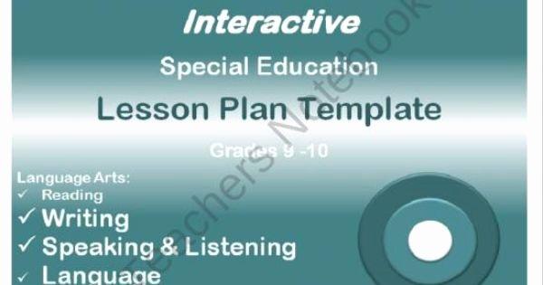 Special Education Lesson Plan Template Unique Mon Core Aligned Interactive Special Education Lesson Plan Templates High School Grades 9 12