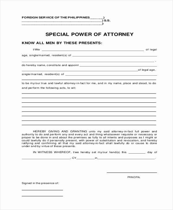 Special Power Of attorney Sample Awesome Free 20 Sample Power Of attorney forms In Pdf