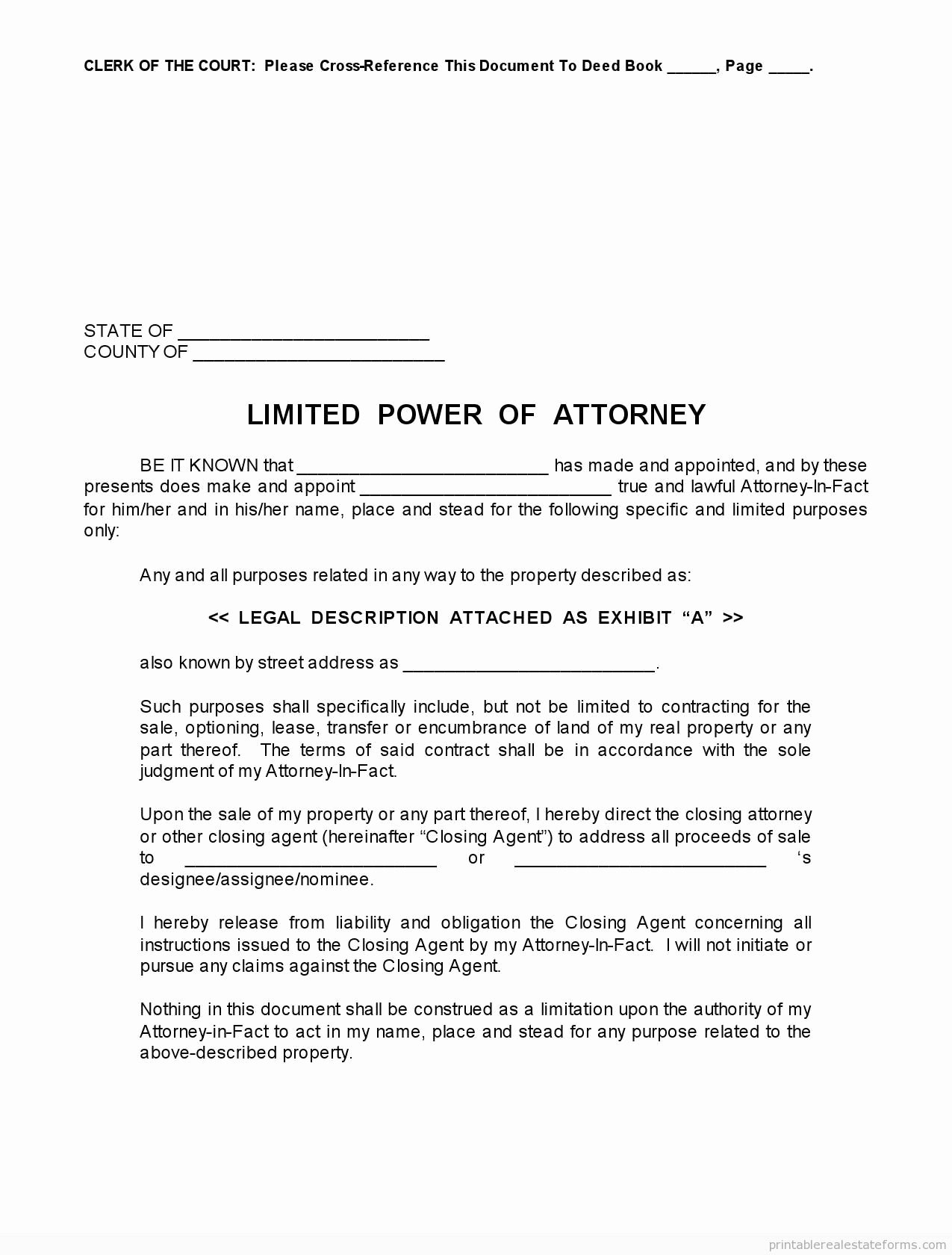 Special Power Of attorney Sample Awesome Sample Printable Limited Power Of attorney form Printable Real Estate forms 2014