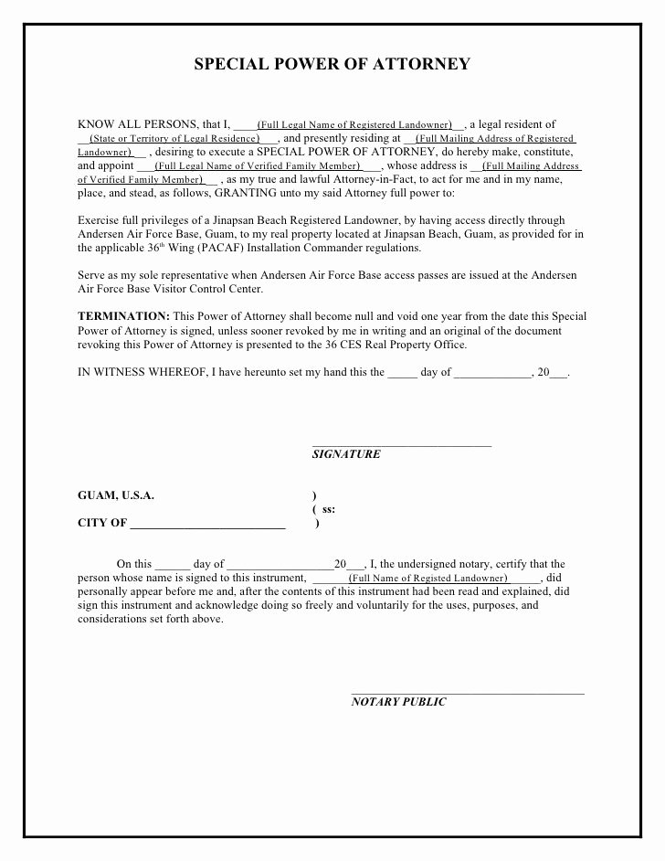 Special Power Of attorney Sample Beautiful Printable Sample Power attorney Template form In 2019