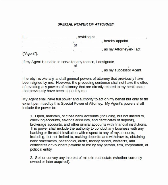 Special Power Of attorney Sample Beautiful Sample Special Power Of attorney form 8 Download Free Documents In Pdf Word