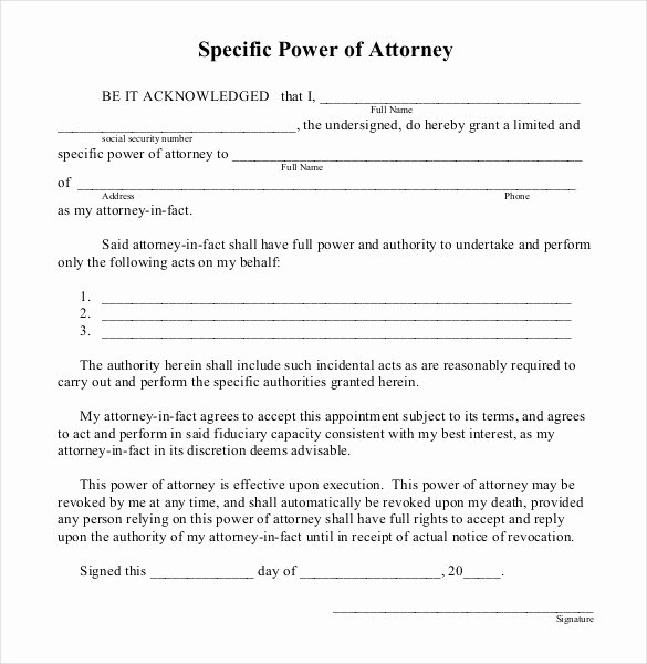 Special Power Of attorney Sample Best Of Power Of attorney Templates – 10 Free Word Pdf Documents Download
