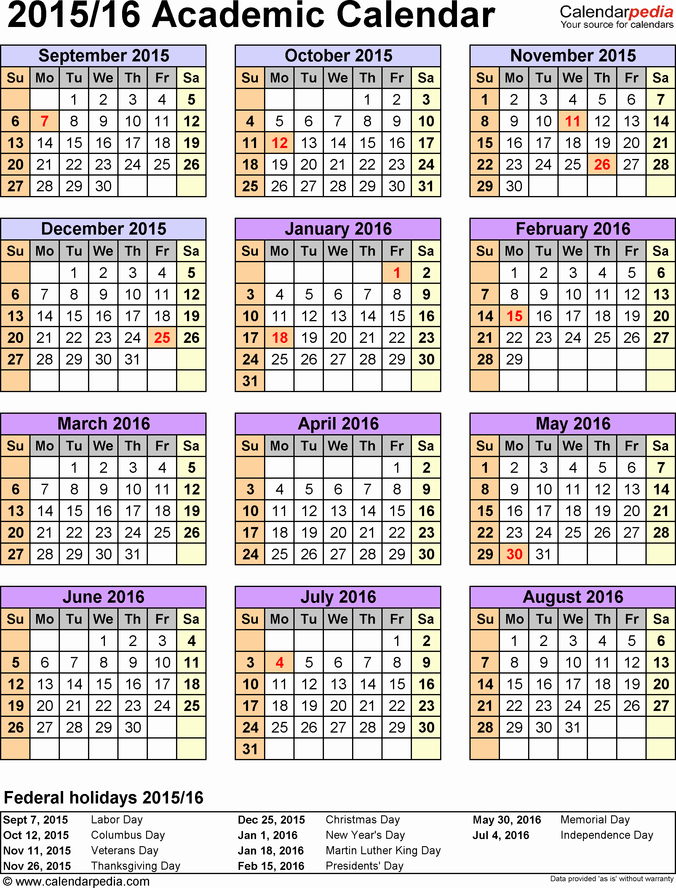 Speech therapy Schedule Template Beautiful Template 5 Academic Calendar 2015 16 for Excel Portrait 1 Page Year Overview