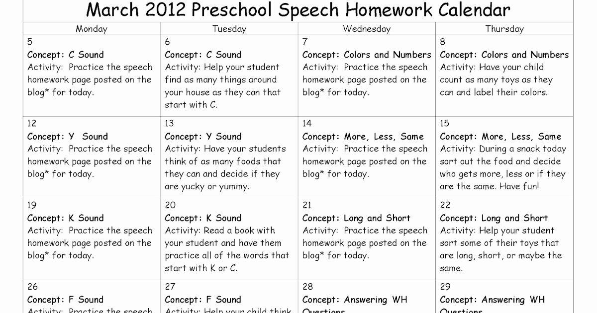 Speech therapy Schedule Template New East Meadows Speech March Preschool Speech Homework Calendar and Week 1