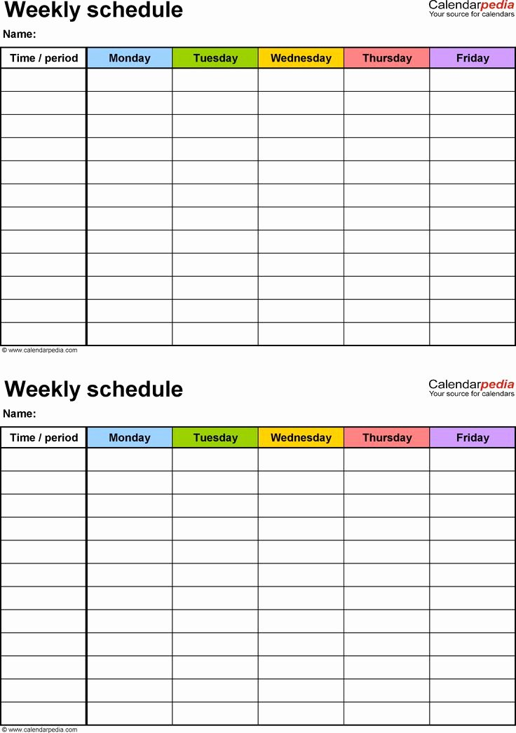 Speech therapy Schedule Template Unique Weekly Schedule Template for Excel Version 3 2 Schedules On One Page Portrait Monday to